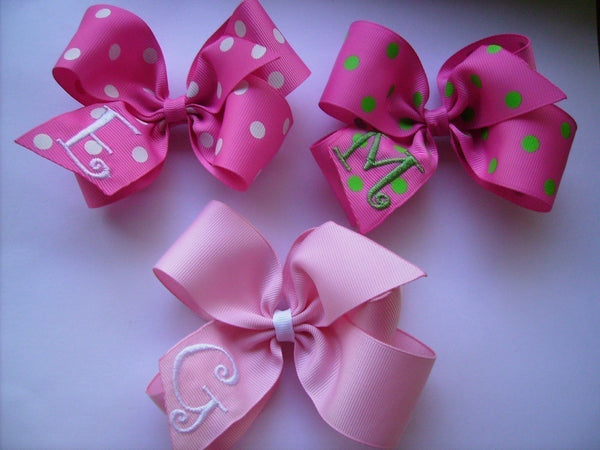 3 pink hair bows with monogram