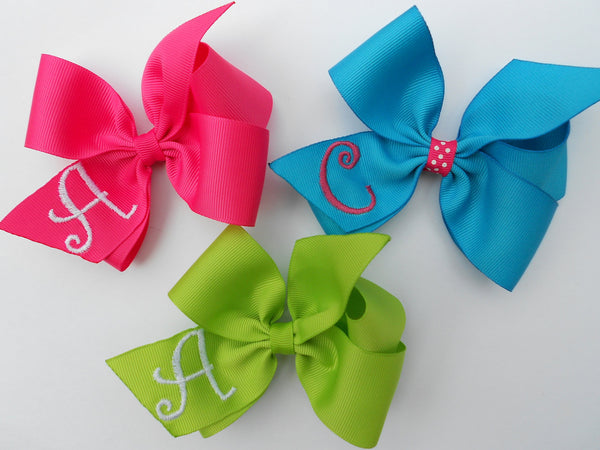 3 colorful hair bows