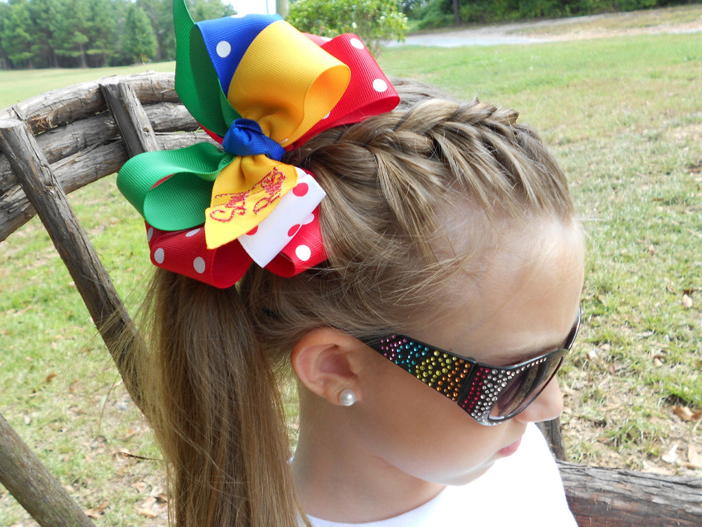Monogram School Hair Bow, Monogrammed Large, Gift Idea, Primary Colors, School Rocks, Kindergarten Bow, Unique Ribbon, 1st Grade, 2nd 3rd