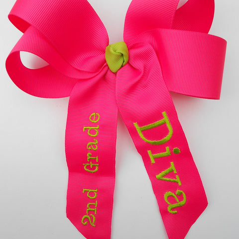Monogrammed School, Hair Bow, Kindergarten Diva, 2nd 1st 3rd, Gift Idea, Apple Hairbow, Clippie Girls, Day of, Embroidered Kids, Custom