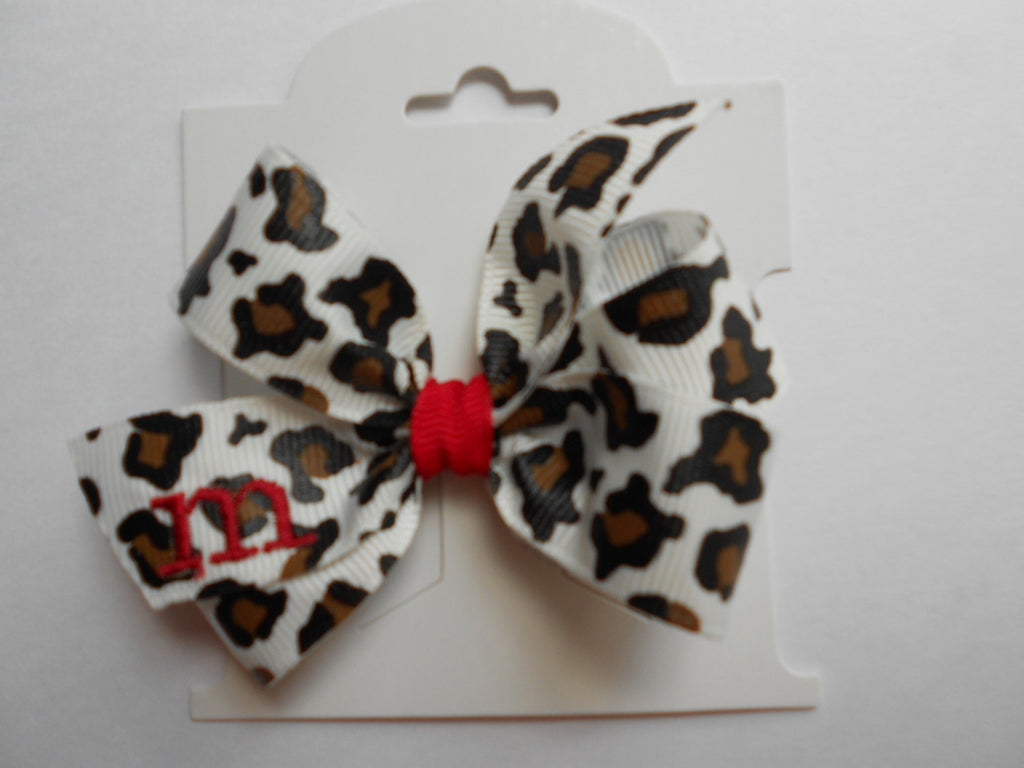 Monogrammed Leopard Print Infant Hair Bow