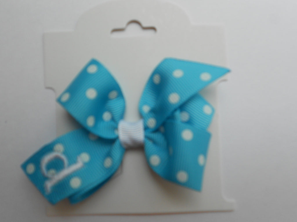 Infant Hair Bow, Monogrammed Initial, Turquoise Polka Dots, Small, Tiny, Personalized Baby Shower Gift, Infant, Toddler, Clippie, Easter