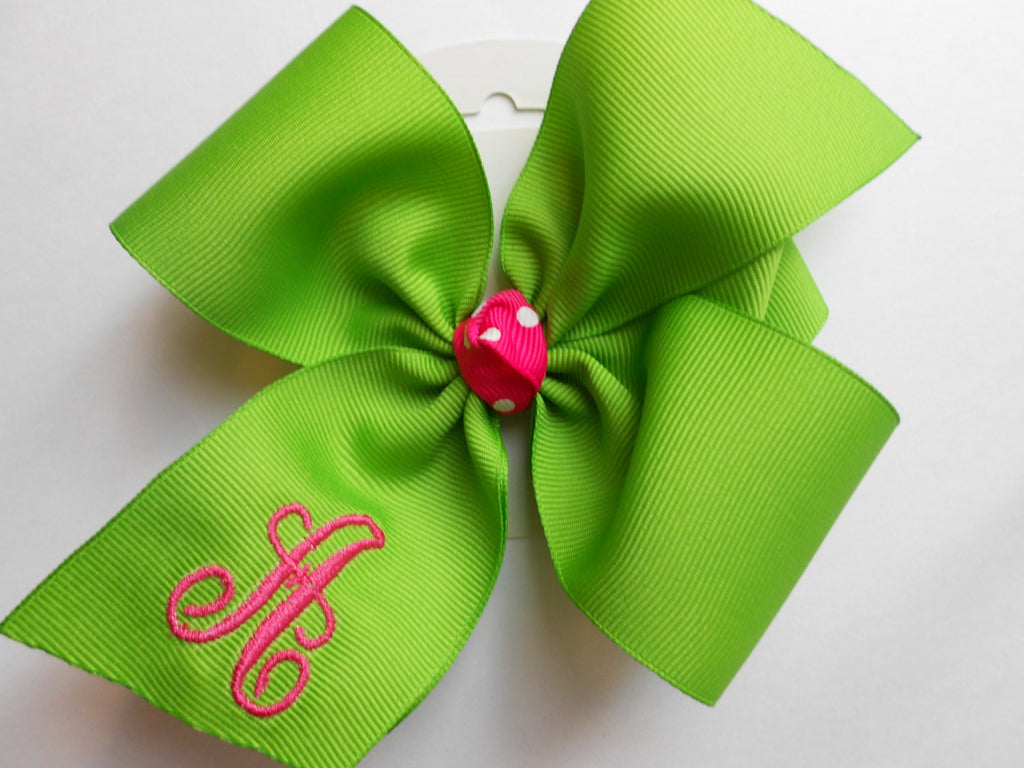 Initial Hair Bow, Monogrammed Gift, Custom Boutique,  Formal Easter, Embroidered Letter, Neon Summer, Monogram Lime, Spring, Large, Hairbow