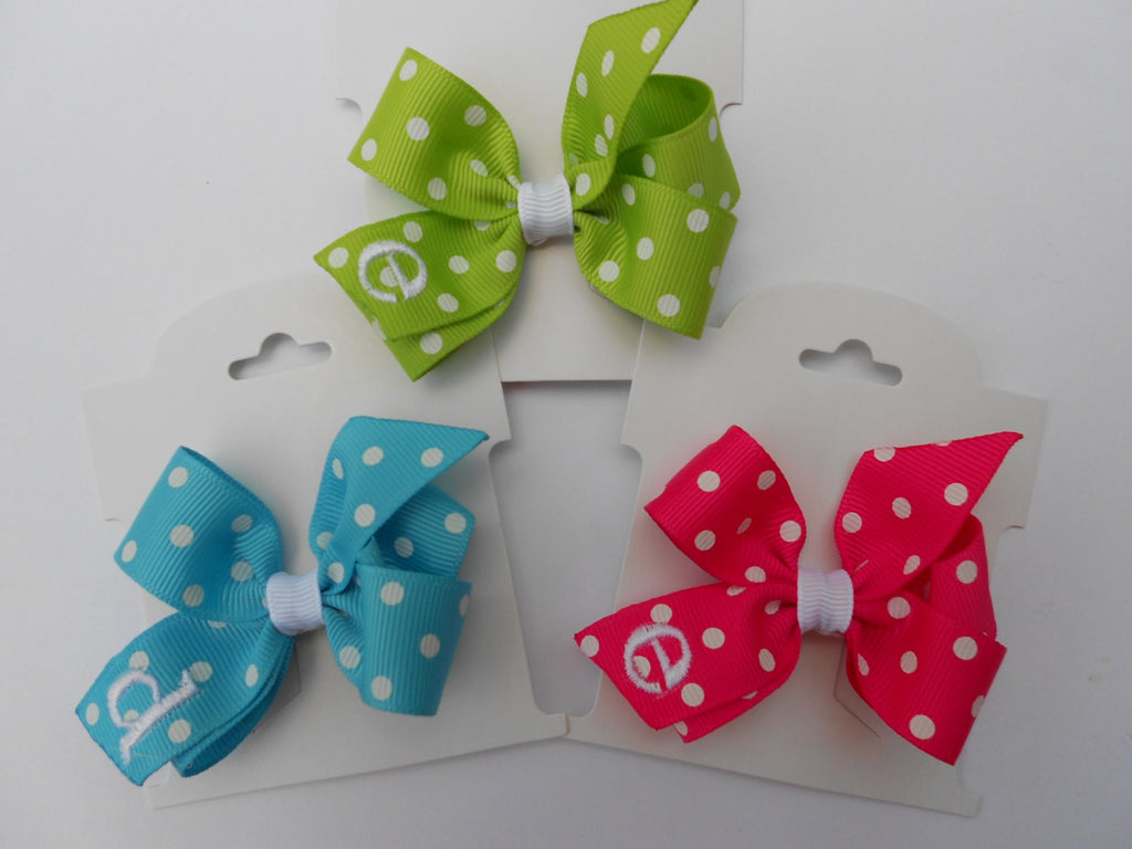 Set of 3, Initial Hair Bows, Girls Gift Idea, Monogram Infant, Monogrammed Toddler, Hairbow, Bows, Basic Boutique, Custom Letter, Easter