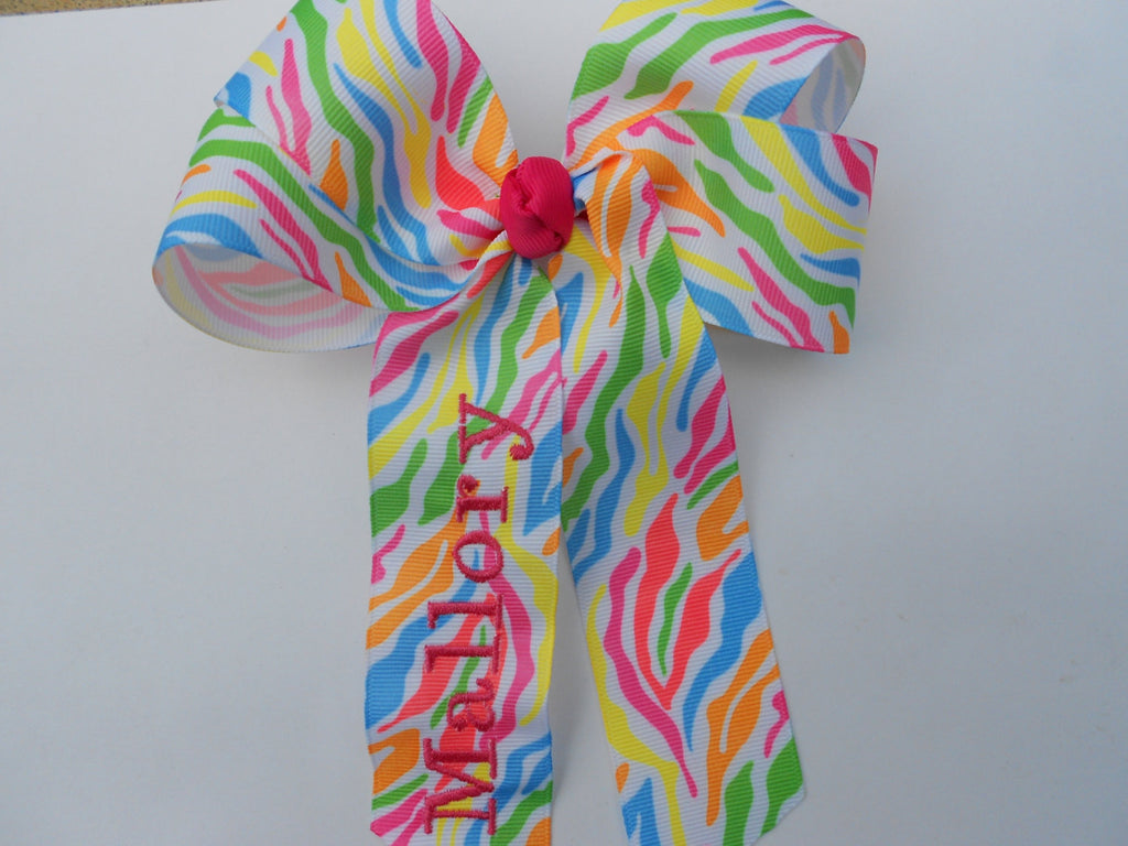Monogrammed Name Tie Dye Hair Bow