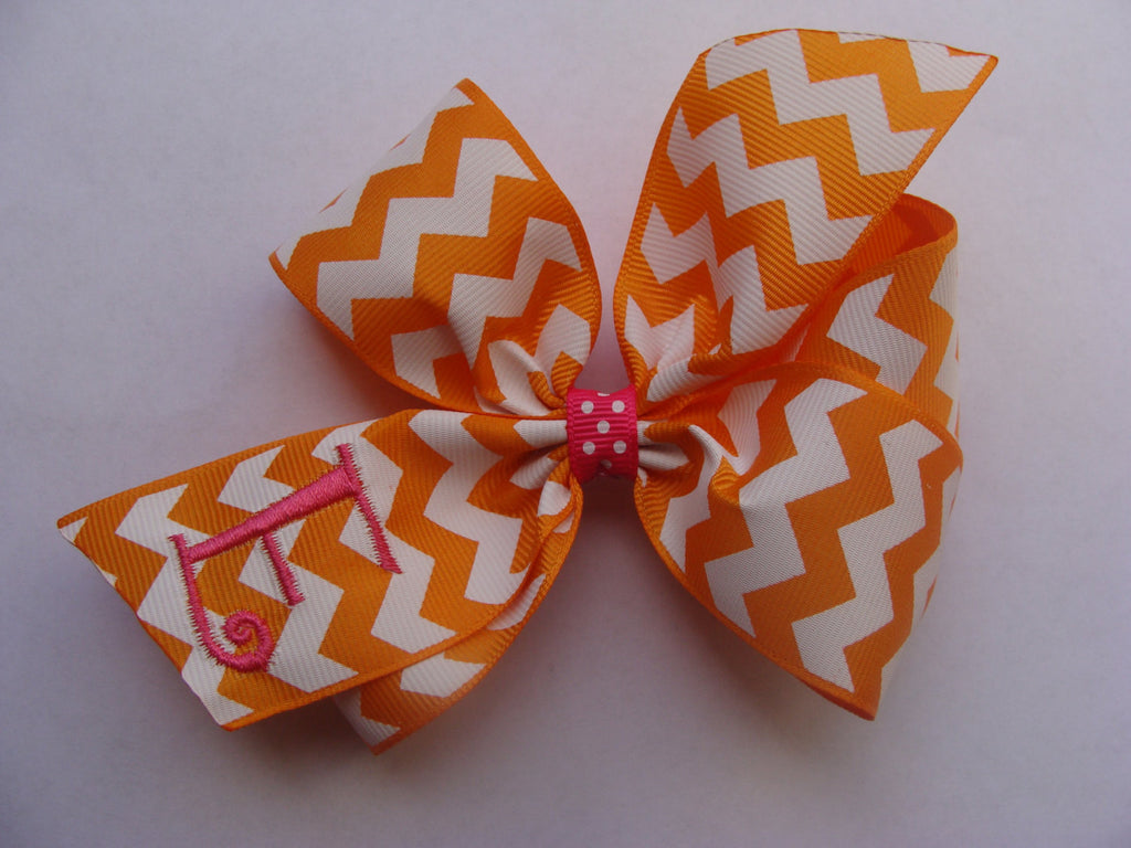 Personalized Initial Chevron Hair bow- Orange- Shocking Pink- Letter- Personalized