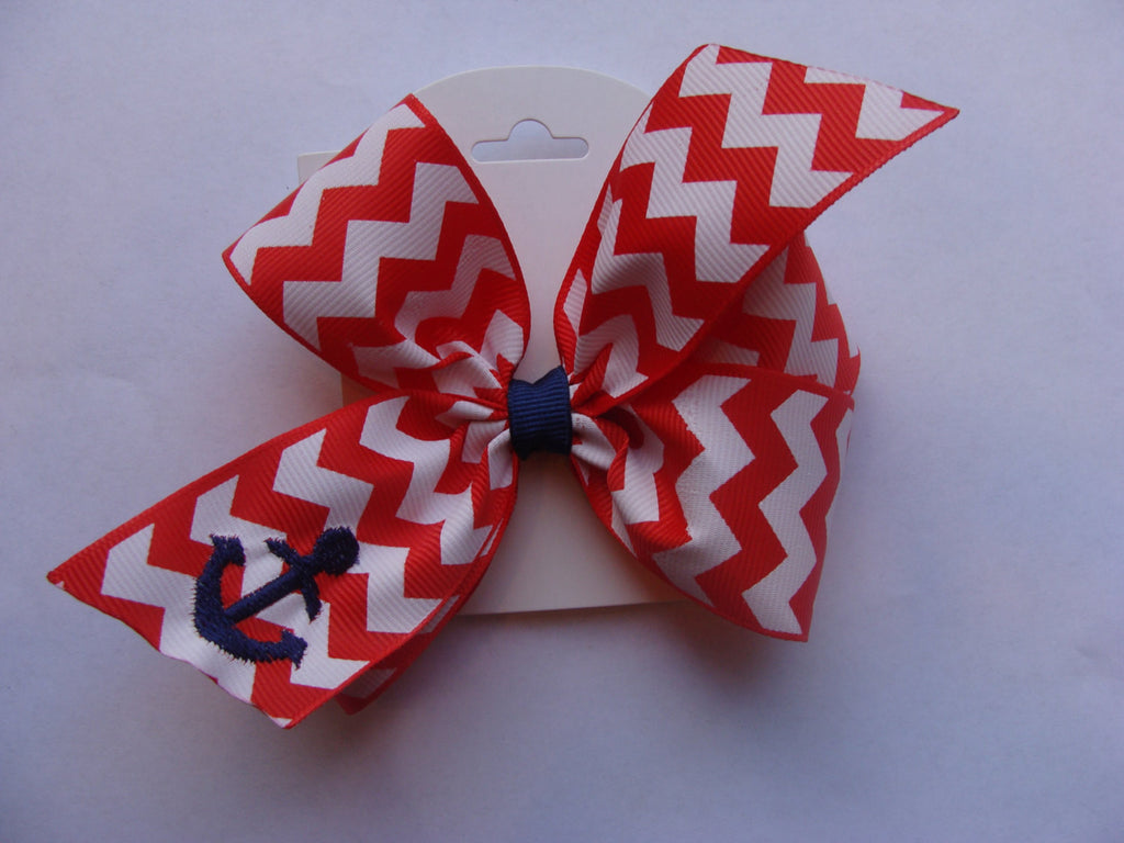 Red Anchor Hair Bow, Chevron, Custom Boutique, Embroidered, Summer, Beach Nautical Hair Bow, Portrait hair bow, Red hair bow