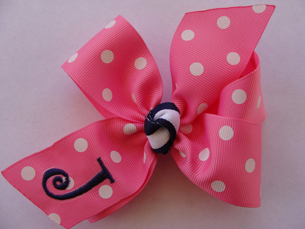 Personalized, Hair Bows, Initial Hairbow, Custom Boutique, Medium 4 inch, Girls Polka Dots, Clip Ribbon, Barrette Clip, Alligator Letter,