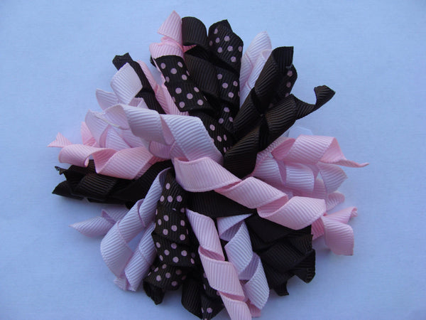 Sale Pink and Brown, Korker Hair Clip, Hair Bow, Curly Ribbon, Custom Boutique, Alligator Clips, Toddler Baby, Gift Ideas, Girls New Baby