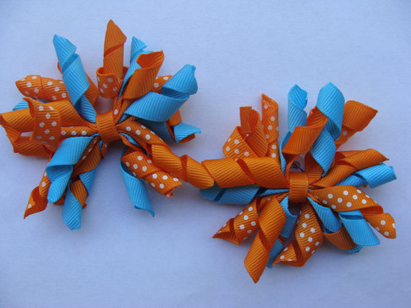 Pigtail Set of 2 Korker Custom Boutique Nemo Hair Bows Orange and Turquoise
