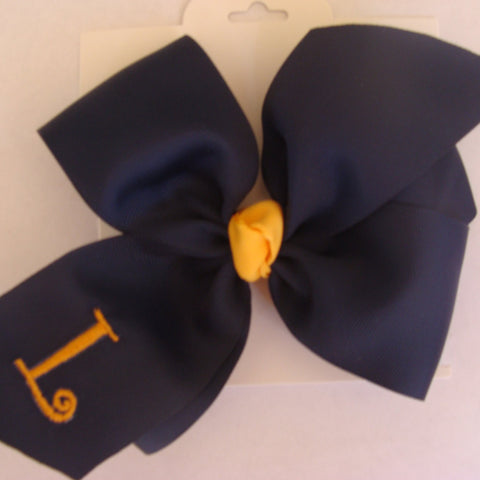 Uniform Hair Bow, Monogram Initial, Letter Monogrammed, Green Gold, Girls School, Plaid Trendy, Gold Yellow, Kids youth, Hunter Hairbow,