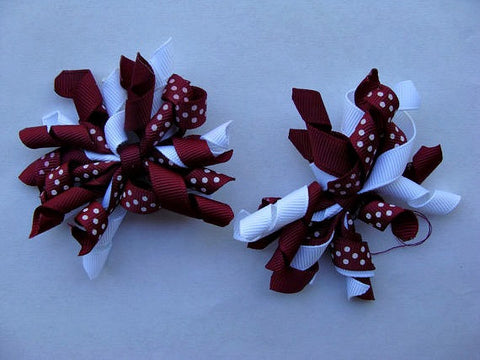 Maroon Korker Hair Bow Set of 2