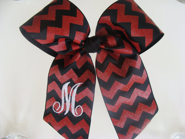 Chevron Glitter Monogrammed Initial Cheer Hair Bow