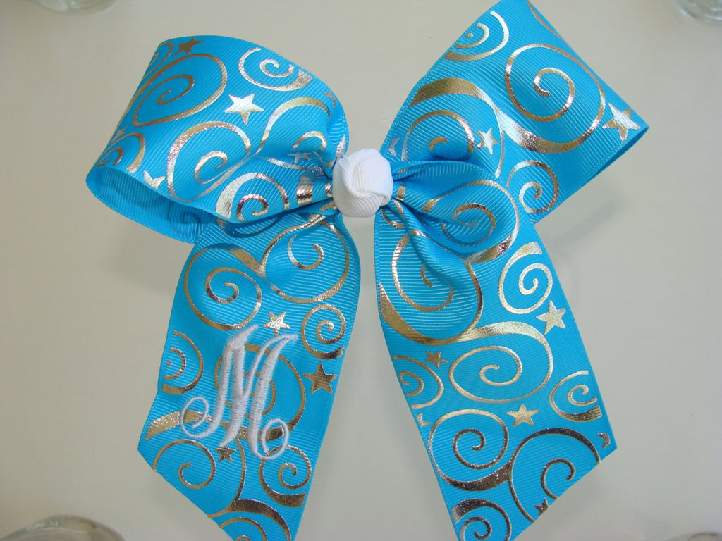Personalized Hairbows, Any Initial, Gift Idea, Cheer Competition, Turquoise Aqua, Lettering, Monogram Metallic Foil Hairbows Custom Boutique