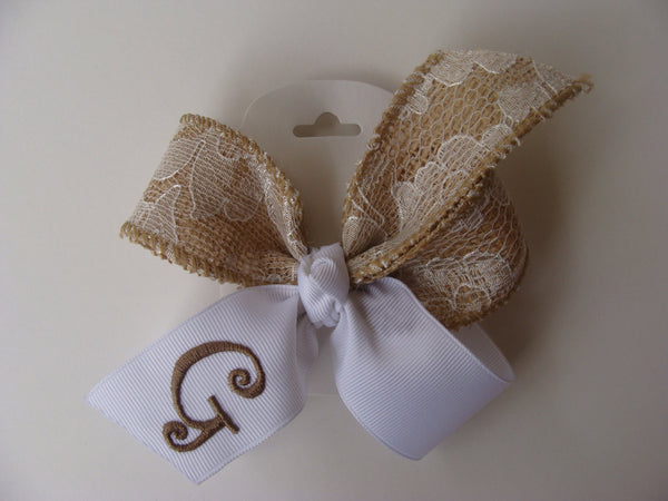 Personalized baby gift. Burlap hair bow.