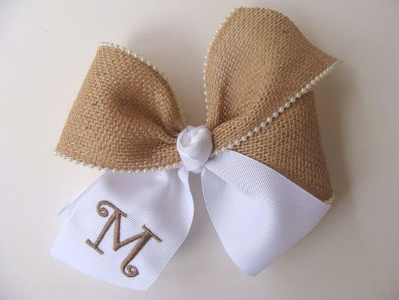 Southern Burlap, Hair Bows, Initial Monogram Monogrammed Letter, Rustic Country, Wedding Flower, Girls Hairbow, Large Huge, Easter Gift