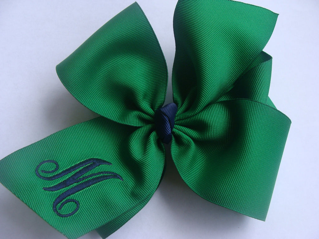School Uniform Hair Bow Emerald Green large girls Monogrammed large Initial Custom Boutique HairBow Personalized Gift Formal Navy