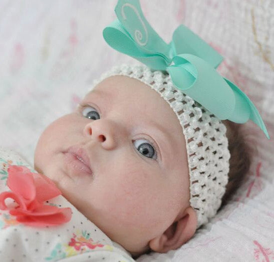 Mint Green Monogrammed Hair Bow