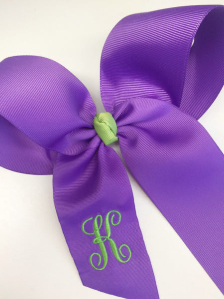 Purple Monogrammed, Hair Bow Initial, Custom Boutique, Girls School Hairbow Letter Tied Customized Kids School Embroidery Ribbon Clip Easter