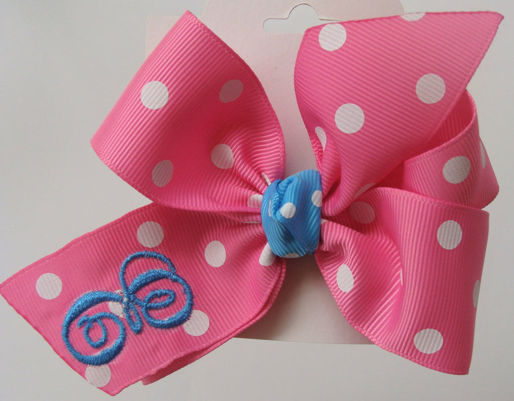 b4cee819 Monogram Initial, Custom Hair Bow, Girls Personalized, Gift Idea, Hot pink,