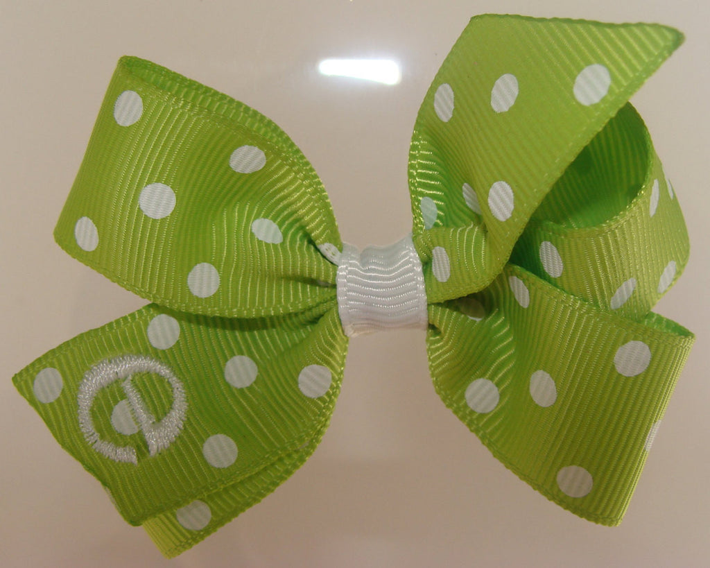 036c9084 ... Infant Initial, Monogrammed Baby, Letter Font, Custom Boutique Lime  Green, Polka Dots