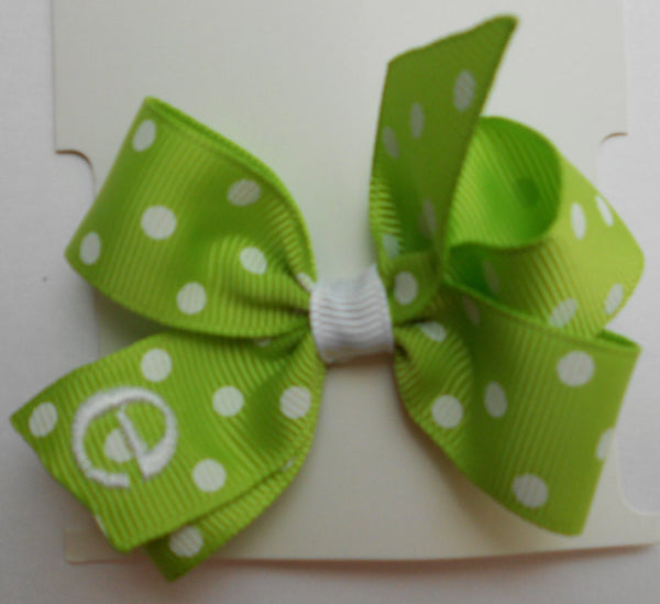Infant Initial, Monogrammed Baby, Letter Font, Custom Boutique Lime Green, Polka Dots, take home gift, Easter Spring, Embroidery, Font, bows