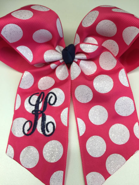 Monogram Letter, Hair Bow, Glitter Ribbon, Fuschia Shocking, Pink Hairbows, Girls Bows, Cheer Accessories, Gift Personalized, Customized Kid