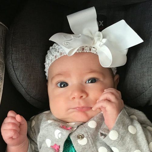 52251ba2158132 Monogrammed White Hair Bow, Custom Boutique Bow, Baby hair bow, Toddler  Hairbow,