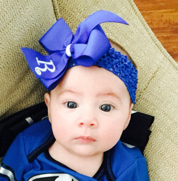 Blue Initial Hair Bow