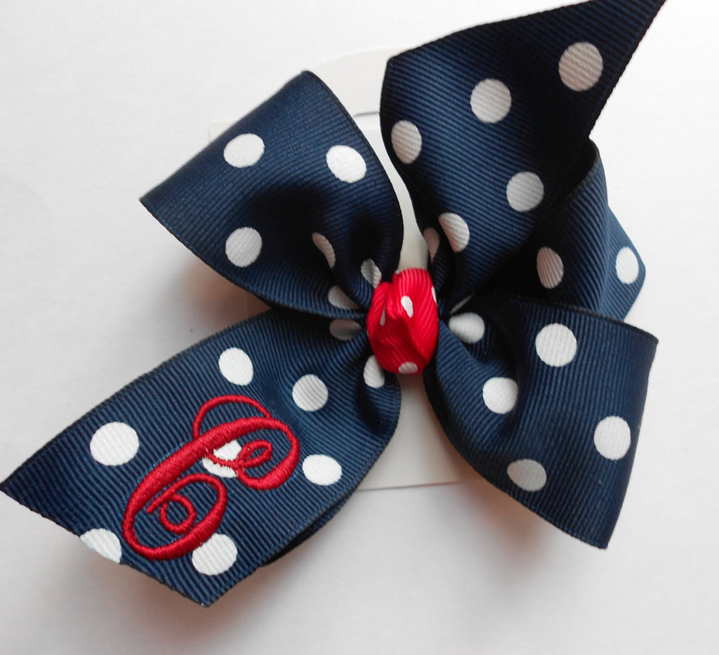 Navy Polka Dot Hair Bow, Monogram Initial, Custom Boutique, 4 inch Hairbow, Toddler gift Idea, School Uniform Hair Bow, Medium Ribbon Gift