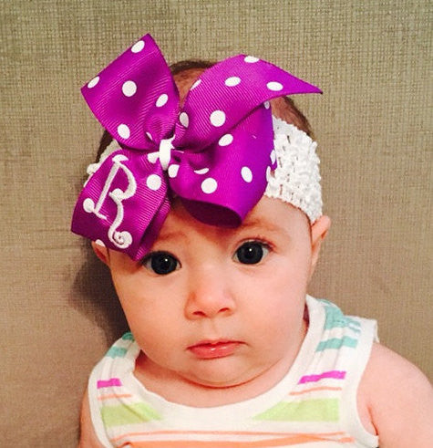 Monogram Boutique Hair Bow, Purple Polka Dot, Baby Girl Headband, Toddler Hairbow, Medium Bow, Purple Ribbon, Embroidered Letter Easter Clip