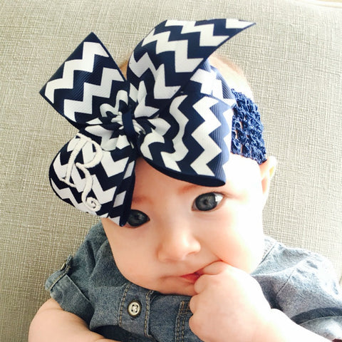 Navy Chevron Bow