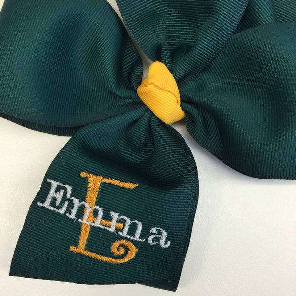 Name Monogrammed, School Uniform, Hair Bows Green Gold Bows, Initial Monogram, Letter Personalized, Embroidery Custom, Boutique Yellow, Girl