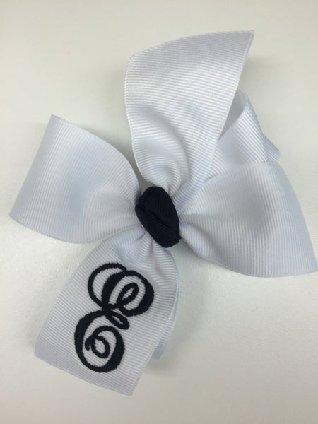 Formal Script, White Initial, Hair Bows Toddlers Medium, Custom Boutique, Black Lettering, Embroidered, Monogram Gift Idea, Baby Personalize