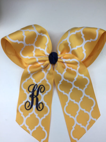 Yellow Hair Bow, Monogram Girls Bow, Cheer Initial Bow, Letter Hair Bow, Yellow Hair Clip, Teen Hair Bow, Large Bow, Cute Hair Bows, Gift