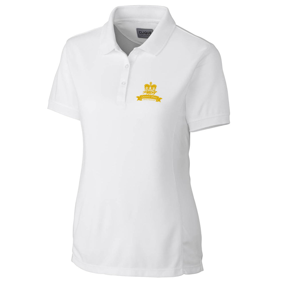 Queen's Plate Golf Shirt, White - Ladies