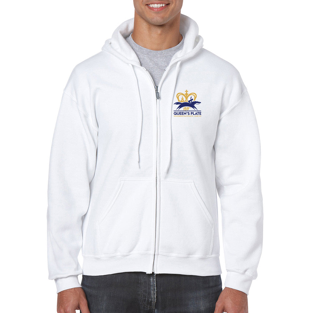Queen's Plate Full Zip Hoodie, White - Unisex
