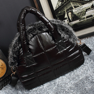Fur trim puffer bag
