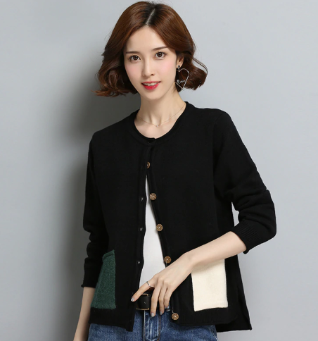 Contrast pockets cardigan