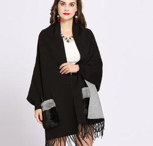 Reversible fur pocket cape with sleeves