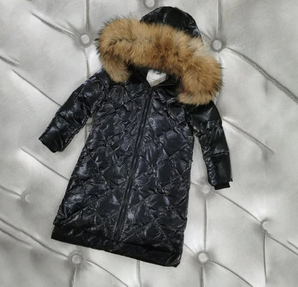 Quilted down coat with natural fur