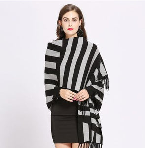 Striped cape with sleeves