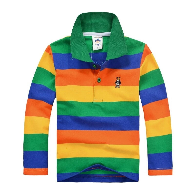 Stripe long sleeve polo