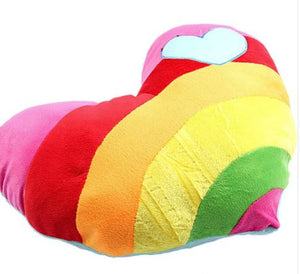 Rainbow heart pillow