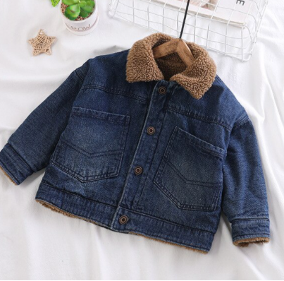 Denim jacket with sherpa collar