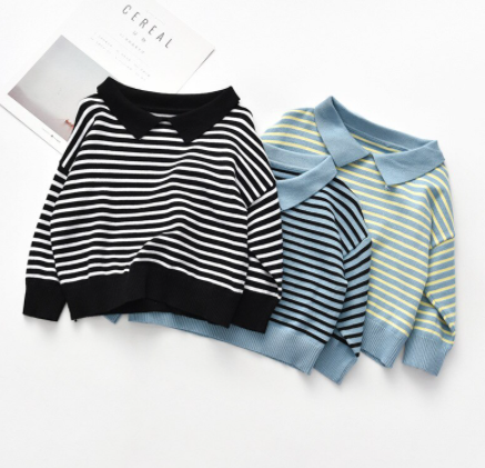 Knit collared striped sweater