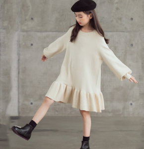 Knit ruffle hem dress