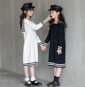 Knit sailor collar dress