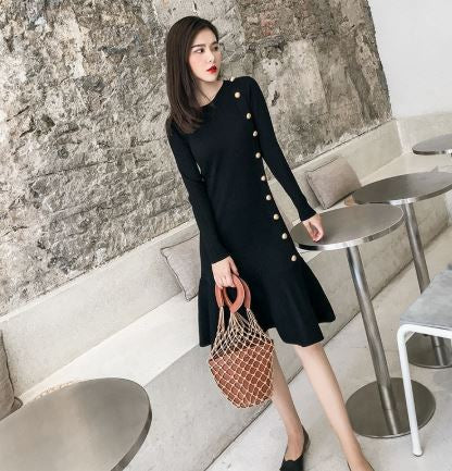 Side button knit dress