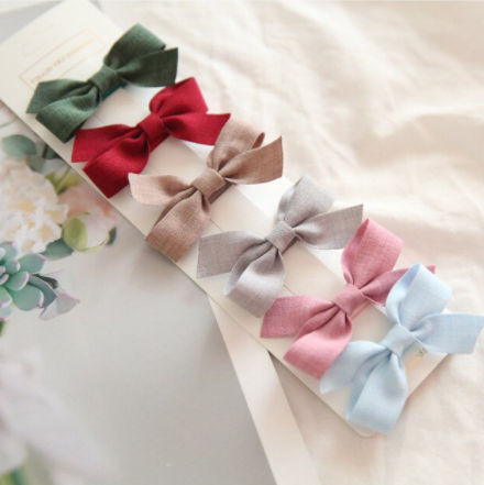 Linen bow clip 6 pc.